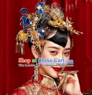 Asian Chinese Handmade Classical Hair Accessories Bride Xiuhe Suit Blueing Hairpins Complete Set for Women