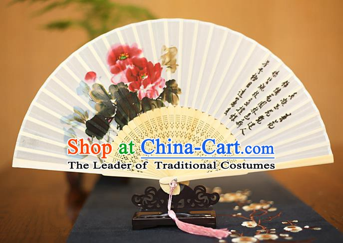 Traditional Chinese Crafts Printing Epiphyllum White Folding Fan, China Sensu Paper Fans for Women