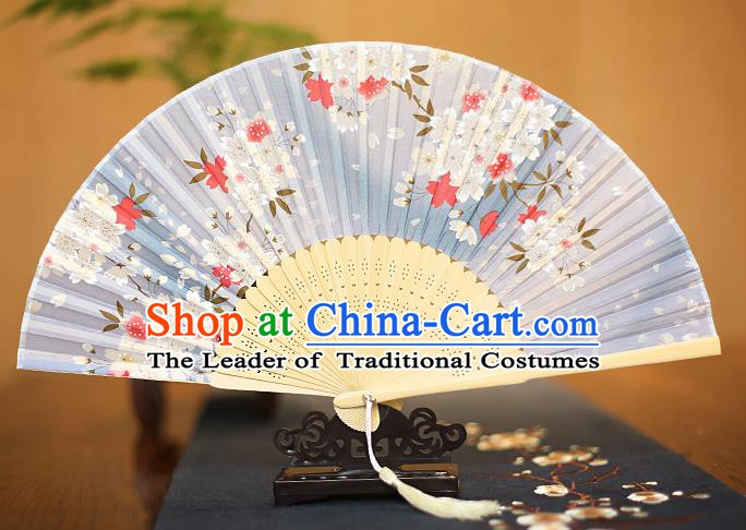 Traditional Chinese Crafts Printing Blue Folding Fan, China Sensu Paper Fans for Women