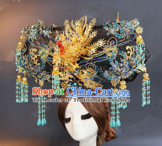 Chinese Ancient Handmade Classical Wedding Hair Accessories Palace Lady Phoenix Coronet Headdress for Women