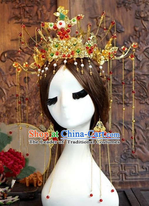 Chinese Ancient Handmade Classical Wedding Hair Accessories Xiuhe Suit Phoenix Coronet Hairpins Complete Set for Women