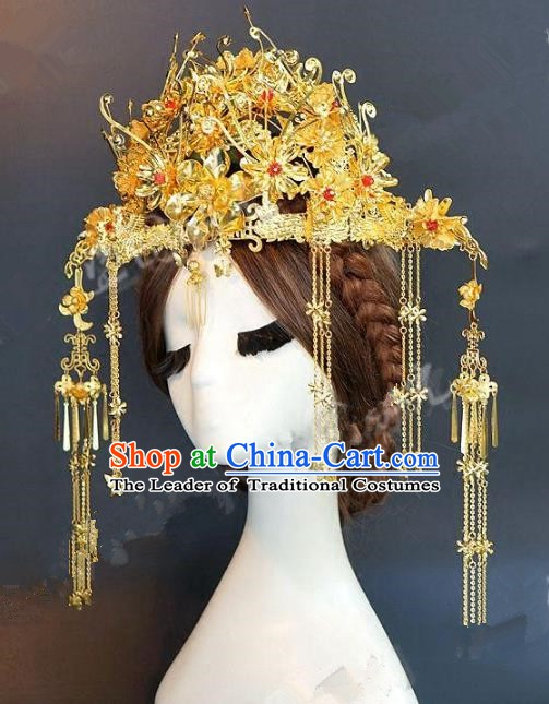 Chinese Handmade Classical Hair Accessories Ancient Hairpins Bride Golden Tassel Phoenix Coronet for Women