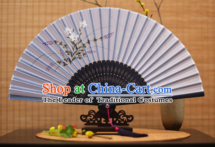 Traditional Chinese Crafts Printing Orchid Blue Folding Fan, China Sensu Paper Fans for Women
