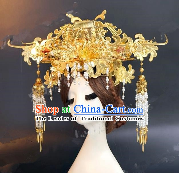Chinese Ancient Handmade Classical Wedding Hair Accessories Xiuhe Suit Golden Exaggerated Phoenix Coronet for Women