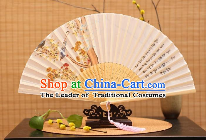 Traditional Chinese Crafts Printing Bird Folding Fan, China Sensu Paper Fans for Women