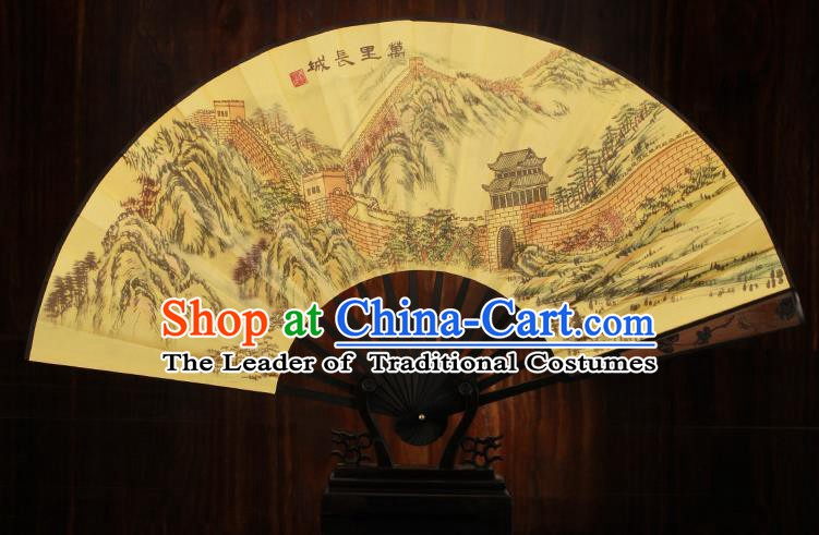 Traditional Chinese Crafts Printing Great Wall Folding Fan, China Sculpture Framework Silk Fans for Men