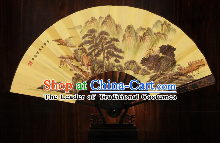 Traditional Chinese Crafts Printing Pineburst Folding Fan, China Sculpture Framework Silk Fans for Men
