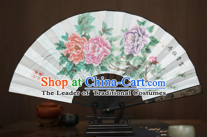 Traditional Chinese Crafts Printing Peony White Folding Fan, China Sculpture Framework Silk Fans for Men