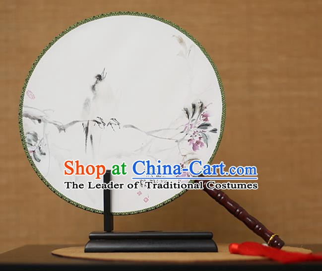 Traditional Chinese Crafts Printing White Round Fan, China Palace Fans Princess Silk Circular Fans for Women
