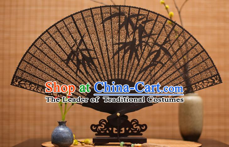 Traditional Chinese Crafts Ebony Folding Fan Carving Bamboo Sandalwood Fans for Women