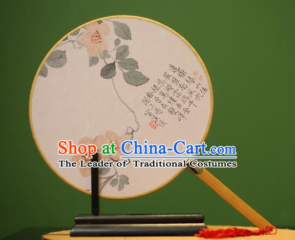 Traditional Chinese Crafts Printing Round Fan, China Palace Fans Princess Silk Circular Fans for Women