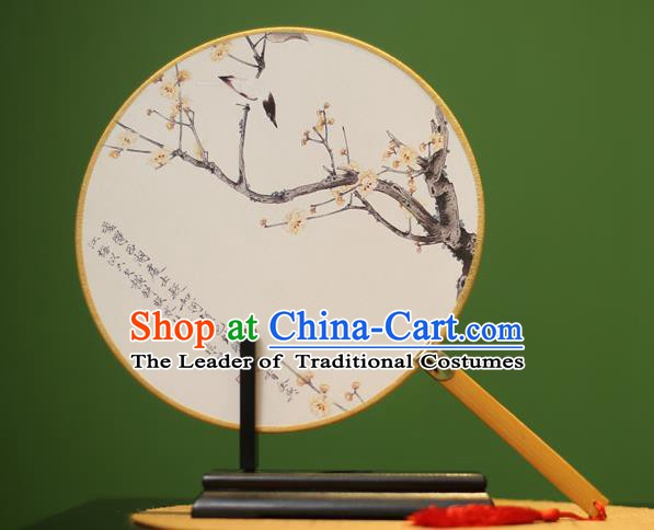 Traditional Chinese Crafts Printing Wintersweet Round Fan, China Palace Fans Princess Silk Circular Fans for Women