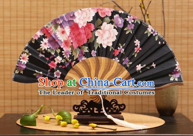 Traditional Chinese Crafts Printing Black Silk Folding Fan Sensu Fans for Women