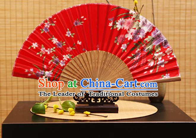 Traditional Chinese Crafts Folding Fans Printing Flowers Red Silk Fan for Women