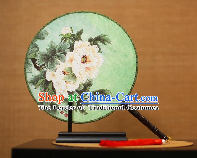 Traditional Chinese Crafts Printing Peony Round Fan, China Palace Fans Princess Silk Circular Fans for Women