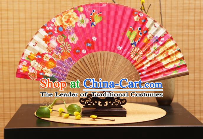 Traditional Chinese Crafts Folding Fans Printing Flowers Pink Silk Fan for Women