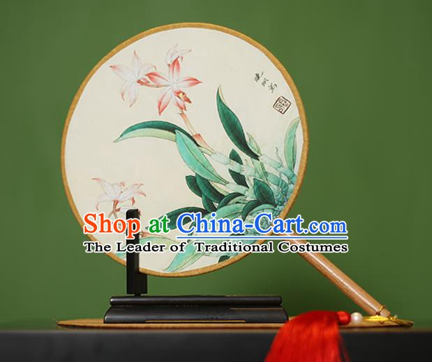 Traditional Chinese Crafts Painting Rosewood Round Fan, China Palace Fans Princess Silk Circular Fans for Women