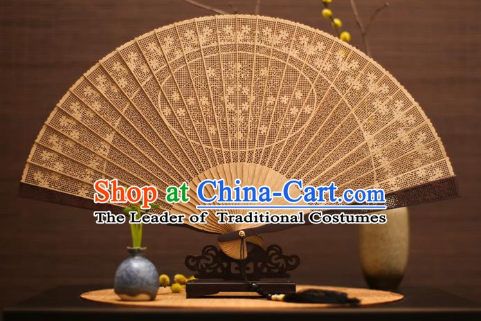 Traditional Chinese Crafts Sandalwood Flowers Folding Fan Sandal Fans for Women