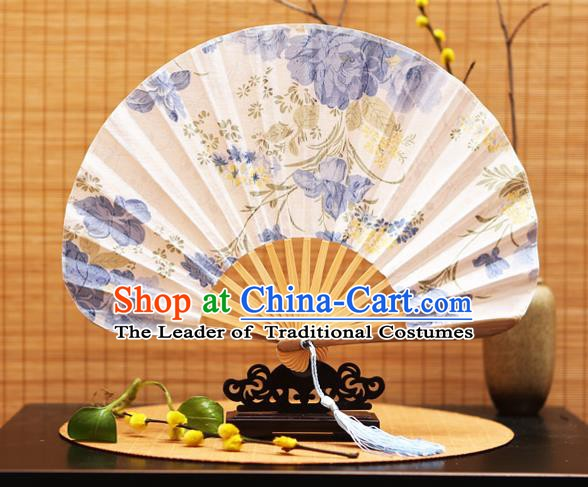 Traditional Chinese Crafts Shell White Silk Folding Fan Ink Painting Flowers Bamboo Fans for Women