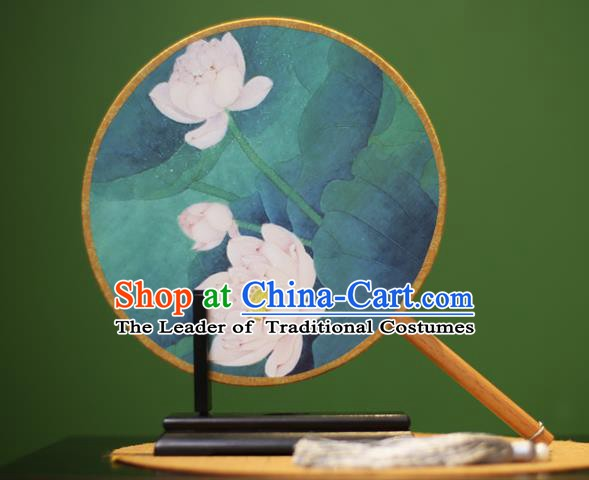 Traditional Chinese Crafts Printing Lotus Round Fan, China Palace Fans Princess Silk Circular Fans for Women