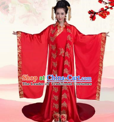 Traditional Chinese Ancient Palace Princess Wedding Costume, China Han Dynasty Bride Trailing Hanfu Clothing for Women