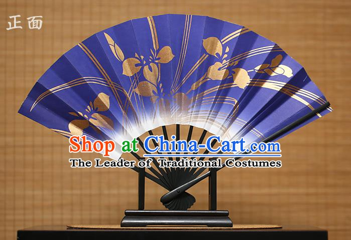 Traditional Chinese Crafts Printing Orchid Purple Paper Folding Fan Sensu Fans for Women