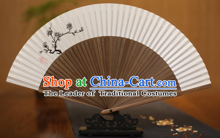 Traditional Chinese Crafts Printing Plum Blossom Folding Fan Paper Fans for Men
