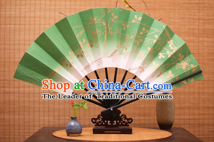 Traditional Chinese Crafts Printing Flowers Green Paper Folding Fan Sensu Fans for Women