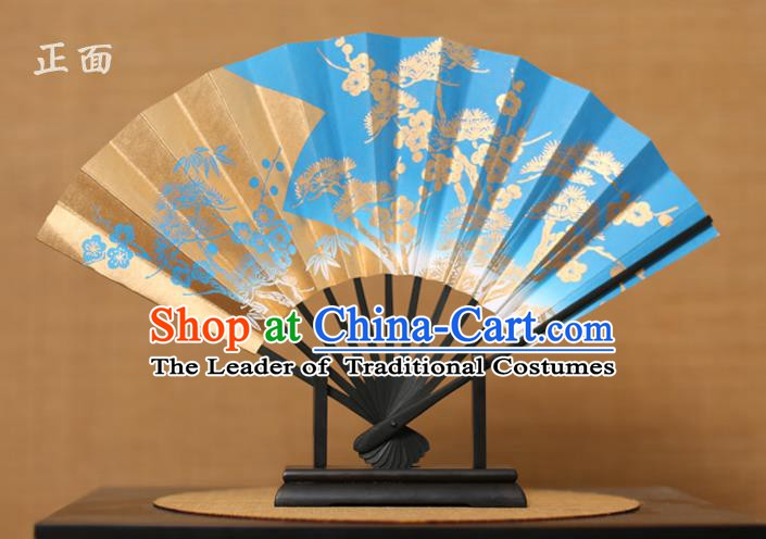 Traditional Chinese Crafts Printing Pineburst Blue Paper Folding Fan Sensu Fans for Women