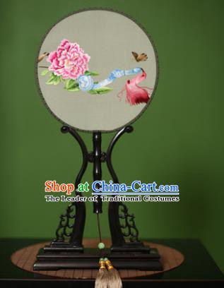Traditional Chinese Crafts Embroidered Peony Round Fan, China Palace Fans Princess Silk Circular Fans for Women