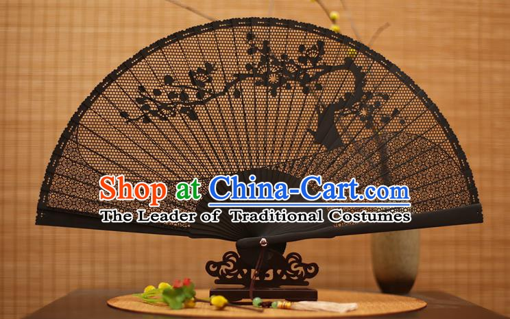 Traditional Chinese Crafts Black Sandalwood Folding Fan, Chinese Hollow Out Wintersweet Fans Bamboo Fans for Women