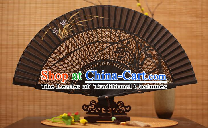 Traditional Chinese Crafts Black Sandalwood Folding Fan, Chinese Hollow Out Orchid Fans Bamboo Fans for Women