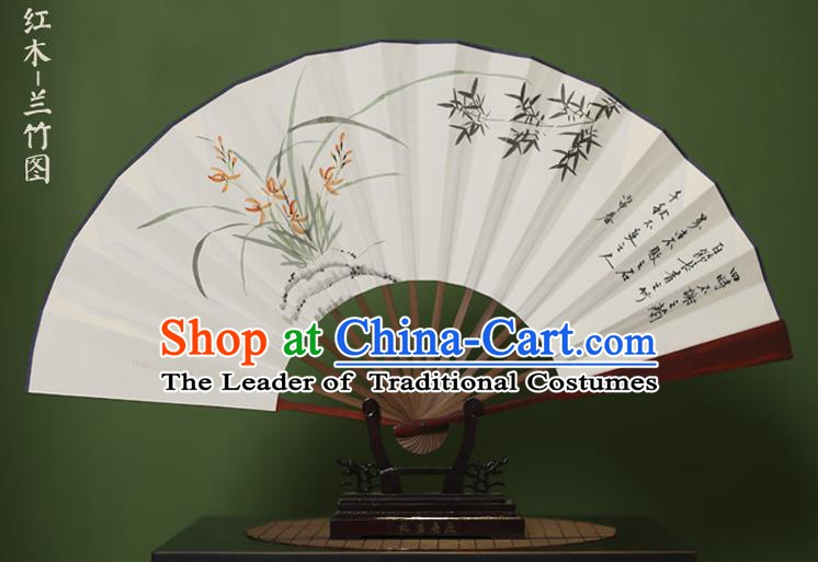 Traditional Chinese Crafts Ink Painting Orchid Bamboo Folding Fan, China Handmade Xuan Paper Fans for Men