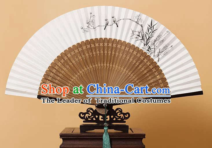 Traditional Chinese Crafts Hand Painting Wintersweet Folding Fan, China Handmade Xuan Paper Fans for Men