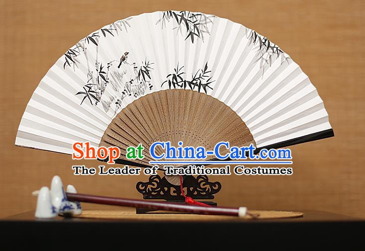 Traditional Chinese Crafts Hand Painting Bamboo Bird Folding Fan, China Handmade Xuan Paper Fans for Men