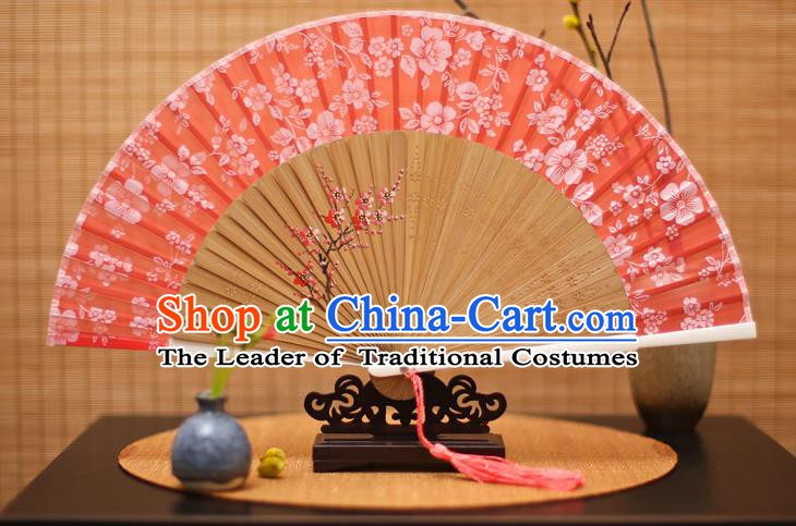 Traditional Chinese Crafts Folding Fan, China Printing Plum Blossom Red Silk Fans for Women