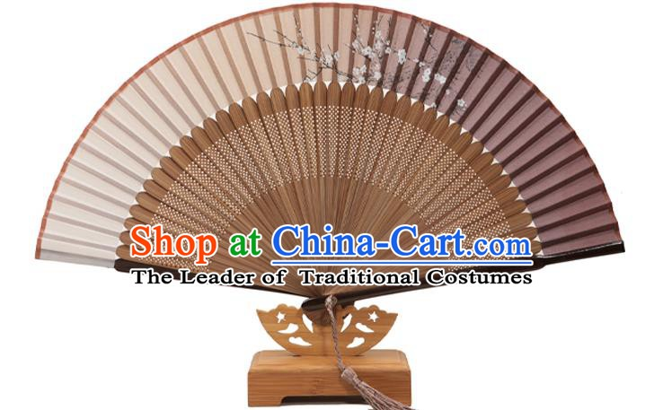 Traditional Chinese Crafts Folding Fan, China Printing Plum Blossom Silk Fans for Women