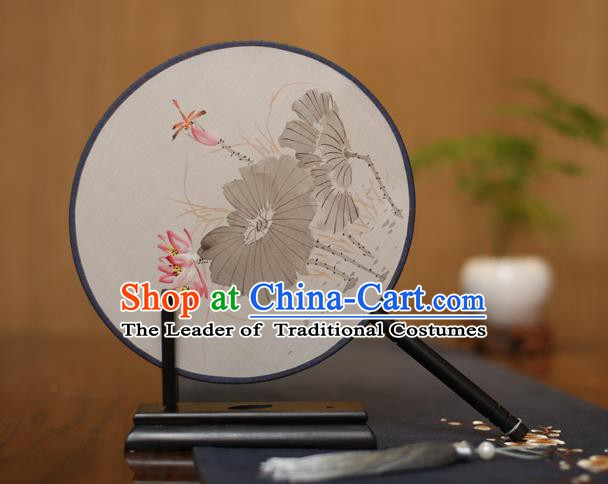 Traditional Chinese Crafts Round Silk Fan, China Palace Fans Princess Printing Lotus Circular Fans for Women
