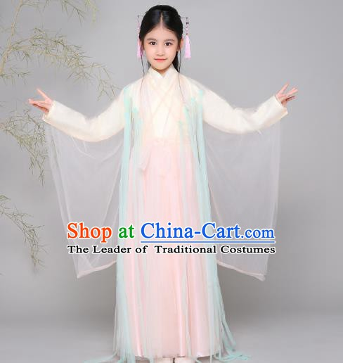 Traditional Chinese Han Dynasty Princess Costume, China Ancient Fairy Hanfu Dress Clothing for Kids