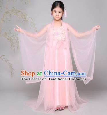 Traditional Chinese Tang Dynasty Palace Lady Costume, China Ancient Princess Fairy Hanfu Dress Clothing for Kids