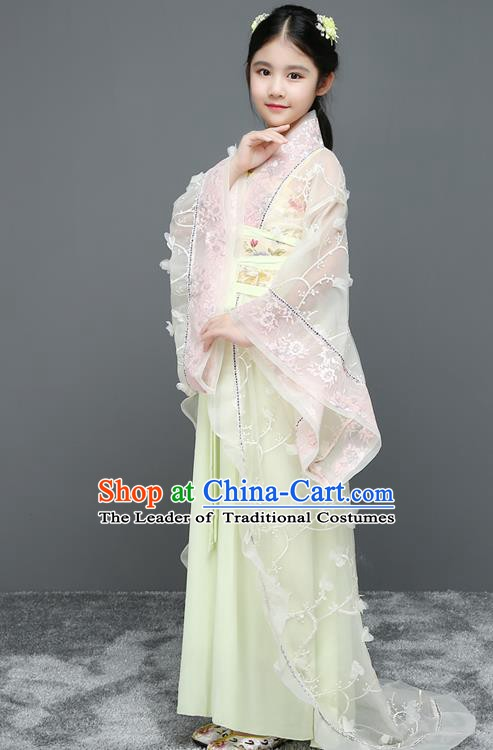 Traditional Chinese Tang Dynasty Imperial Concubine Embroidered Costume, China Ancient Princess Hanfu Trailing Dress for Kids