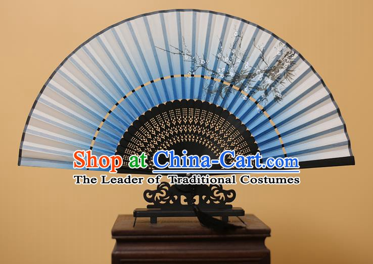 Traditional Chinese Crafts Printing Plum Blossom Light Blue Folding Fan, China Handmade Bamboo Fans for Women