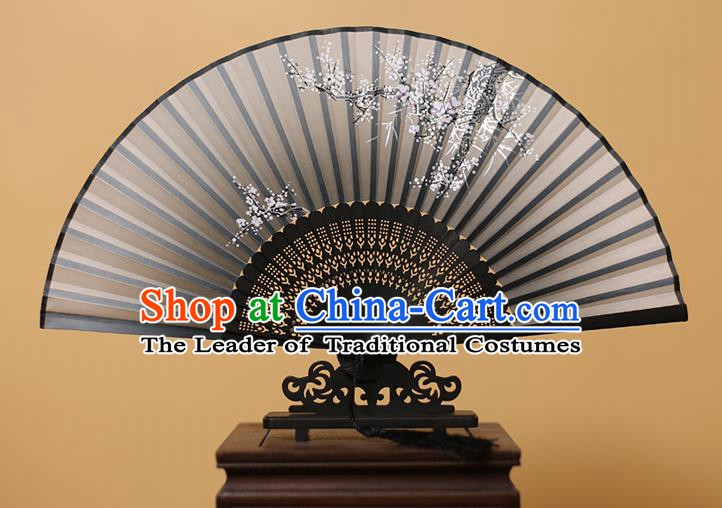Traditional Chinese Crafts Printing Wintersweet Black Folding Fan, China Handmade Bamboo Fans for Women