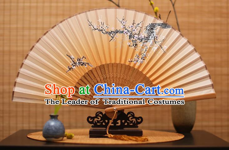 Traditional Chinese Crafts Printing Wintersweet Yellow Folding Fan, China Handmade Bamboo Fans for Women