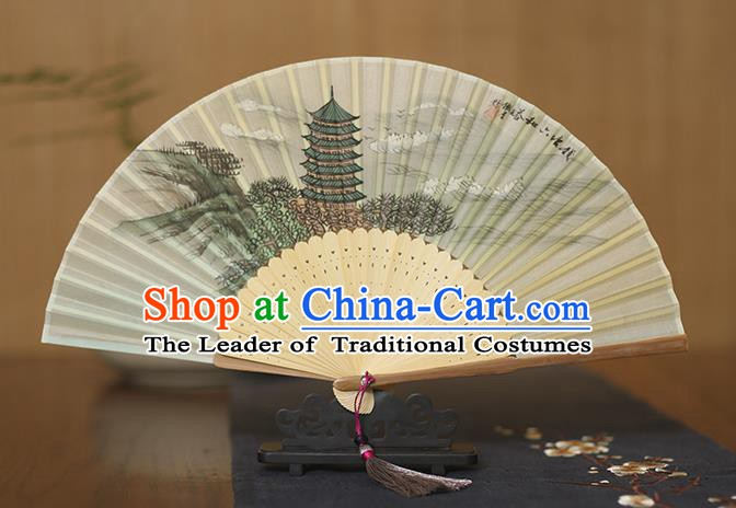 Traditional Chinese Crafts Printing Pagoda Silk Folding Fan, China Handmade Bamboo Fans for Women
