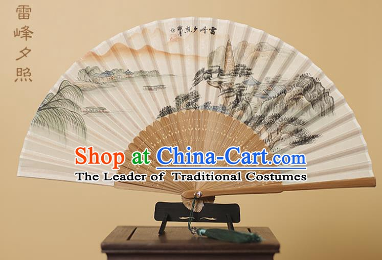 Traditional Chinese Crafts Printing Leifeng Pagoda Silk Folding Fan, China Handmade Bamboo Fans for Women