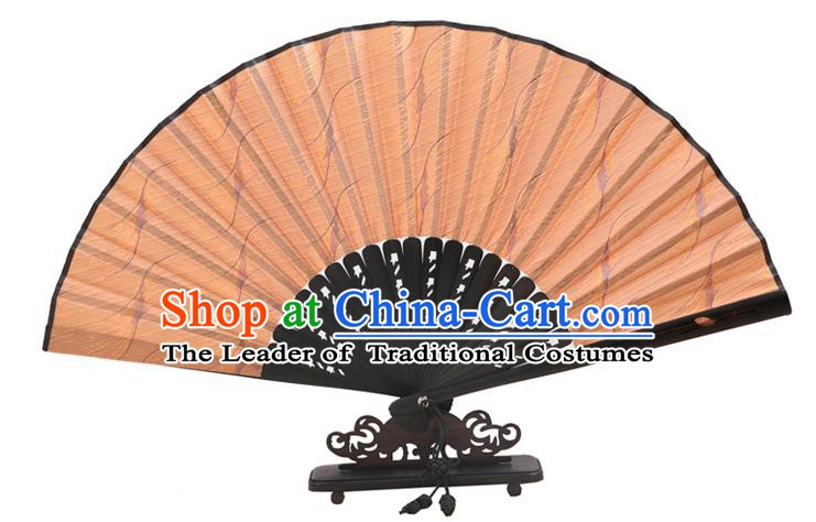 Traditional Chinese Crafts Golden Silk Folding Fan, China Handmade Bamboo Fans for Women