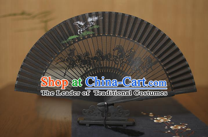 Traditional Chinese Crafts Hand Painting Horse Folding Fan, China Handmade Silk Fans for Women