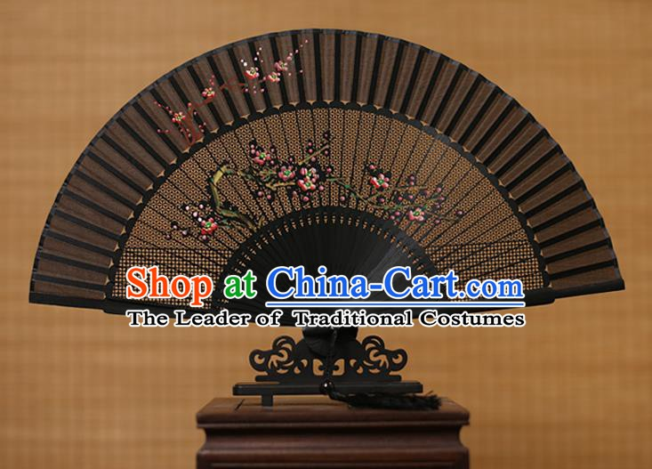 Traditional Chinese Crafts Hand Painting Plum Blossom Folding Fan, China Handmade Black Silk Fans for Women