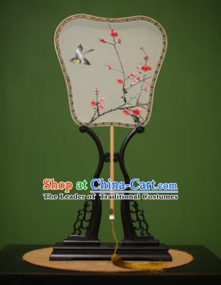 Traditional Chinese Crafts Suzhou Embroidery Silk Fan, China Palace Fans Princess Embroidered Wintersweet Fans for Women